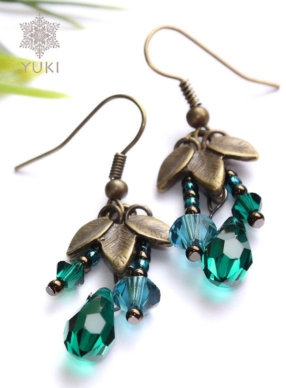 Earrings with blue and emerald Swarovski crystals by YUKIJewellery, €18.50
