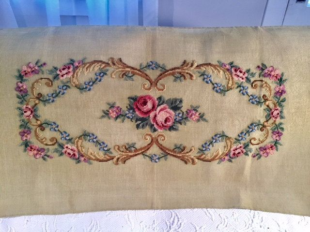Preworked needlepoint bench cover size flora by SewEtceteraShop