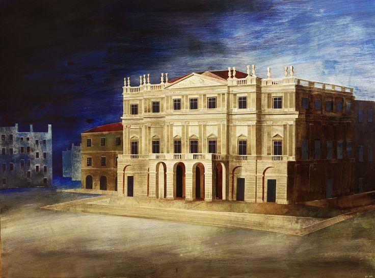 'La Scala Opera House' by Ed Kluz, 2016 (Collage on Board)