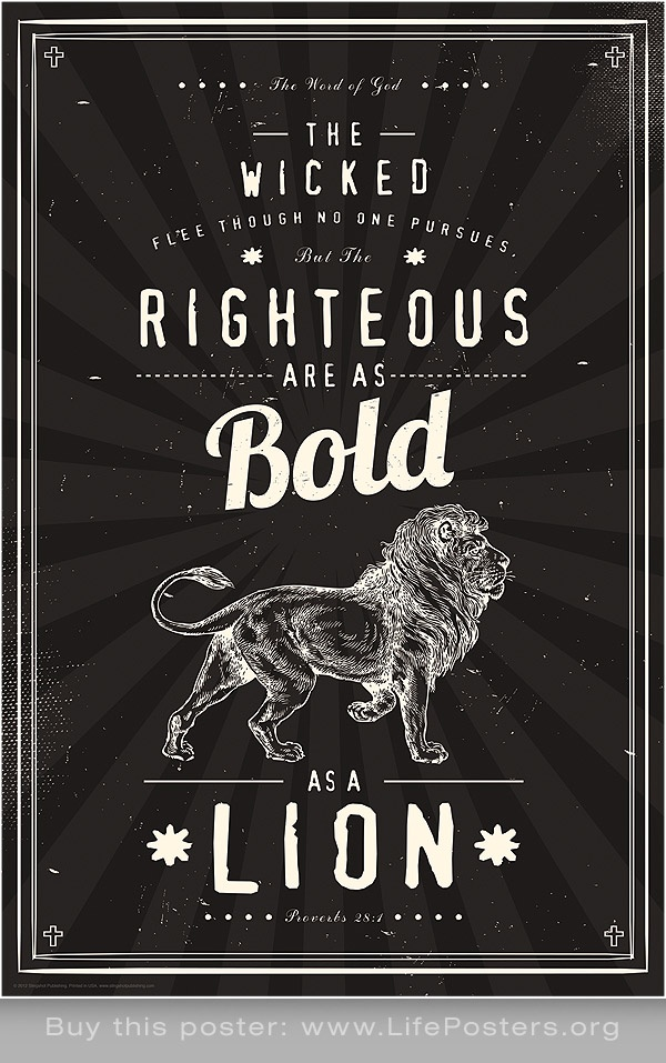 THE RIGHTEOUS ARE BOLD AS A LION -  Inspirational christian art poster print for youth, churches, college students, classrooms, teachers. Buy these posters at: http://www.lifeposters.org