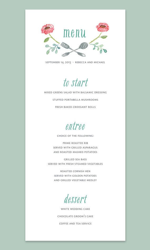 Watercolor Flowers Wedding Menu Card  by Leveret Paperie