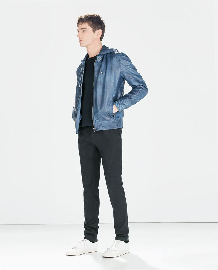 Image 1 of FAUX LEATHER JACKET WITH HOOD from Zara