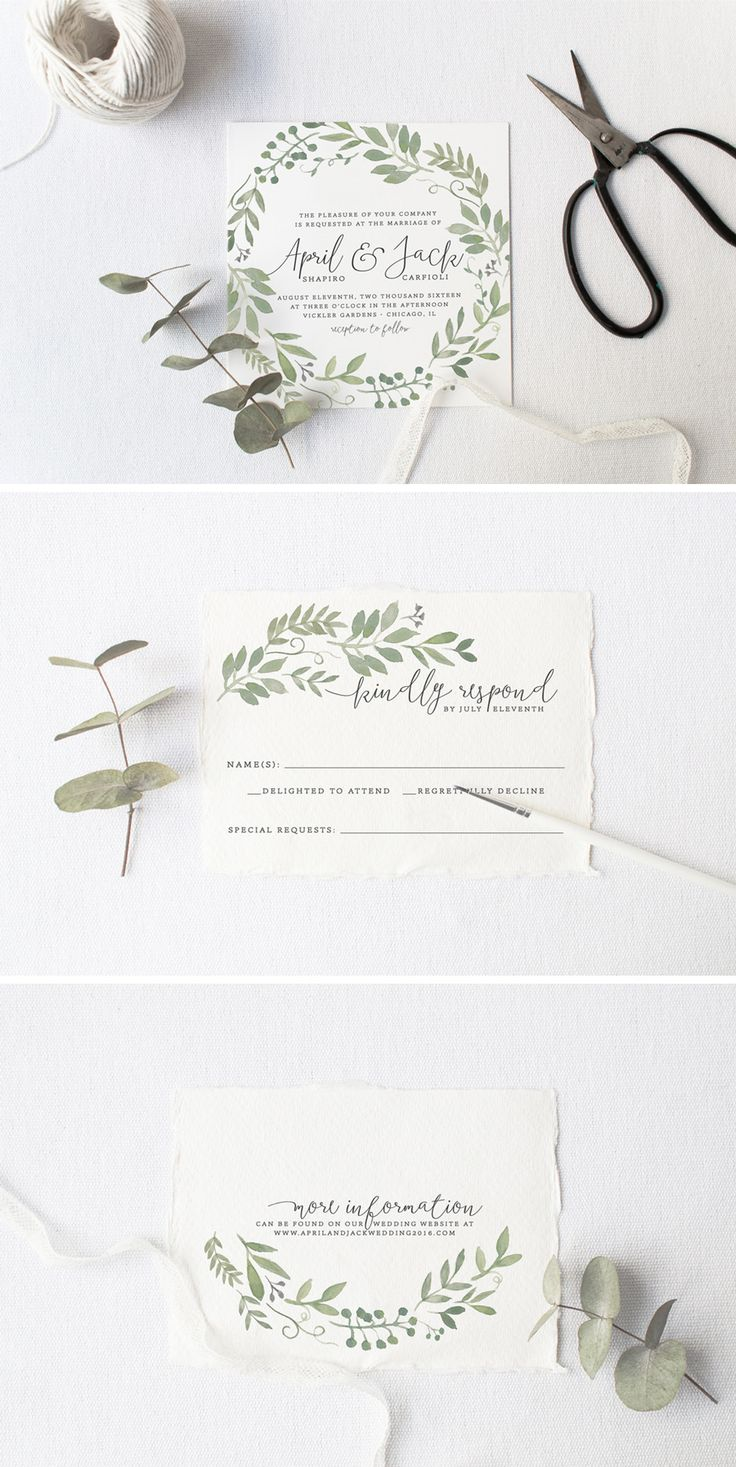 Garden Wedding Invitation Suite - love the Watercolor Foliage Illustration / from Splash of Silver