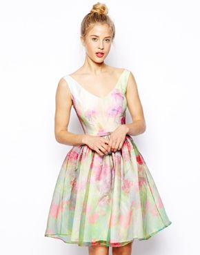Image 1 ofASOS SALON Organza Floral Prom Dress
