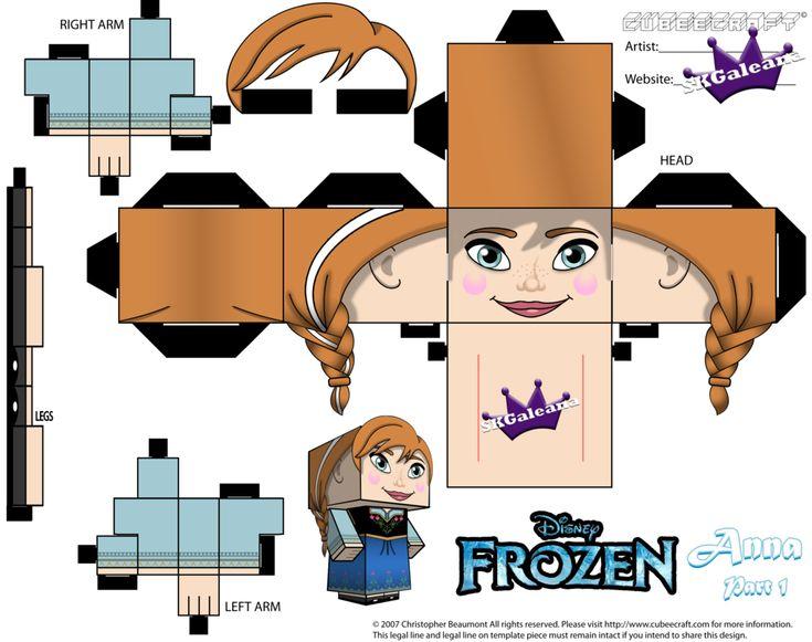 Anna From Disney's Frozen cubeecraft Template P1 by SKGaleana.deviantart.com on @deviantART