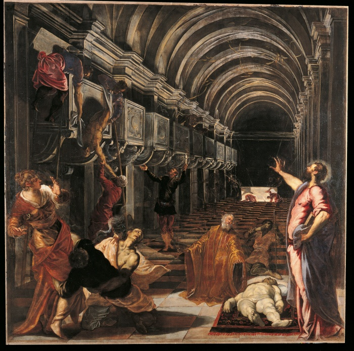 Italy, Lombardy, Milan, Brera Art Gallery. All. Perspective view foreshortening of a barrel vaulted nave with transversal round arches. Nude body of the Saint. Sparks flashes. © MONDADORI PORTFOLIO/ Electa, Milano / Sergio Anelli
