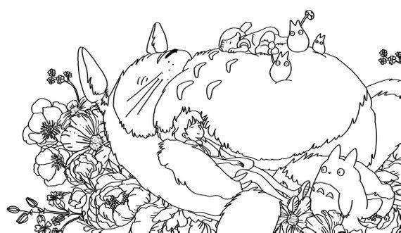 Digital Sleeping Totoro Printable Coloring Sheet Totoro Printable Totoro Drawing Totoro