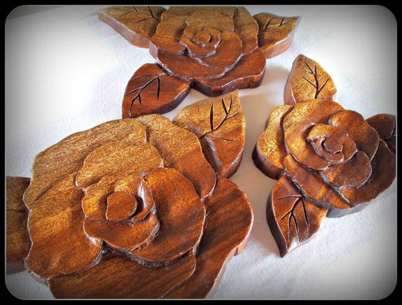 Set of 3 Flowers Candle Holders Hand Carved in mahogany wood