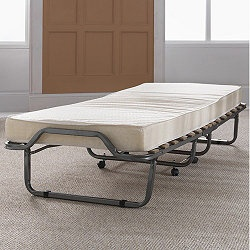 SEH1097_7237433 Features: -Anthracite and non quilted.-2.5cm Square metal frame.-Polyester mattress.-Base: Eucalyptus sprung slats.-Mechanism: Automatic.-Cover: Damask.-Mattress type: 10cm (1cm memory foam and 9cm polyurethane foam.-Firmness: Medium. Assembly Instructions: -Assembly required. Dimensions: -Single Folded Dimensions: 85cm H x 80cm W x 39cm D.-Double Folded Dimensions: 96cm H x 85cm W x 39cm D.