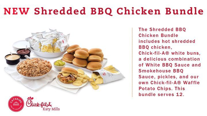 NEW Catering Item... The Shredded BBQ Chicken Bundle includes hot shredded BBQ chicken Chick-fil-A white buns a delicious combination of White BBQ Sauce and Smokehouse BBQ Sauce pickles and our own Chick-fil-A Waffle Potato Chips. This bundle serves 12.