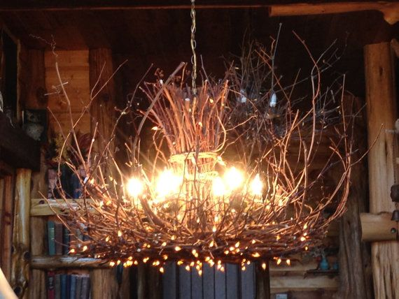 Cold Mountain Chandelier Rustic 6 Light Twig Fixture 300 Fairy Lights Cabin Usd By