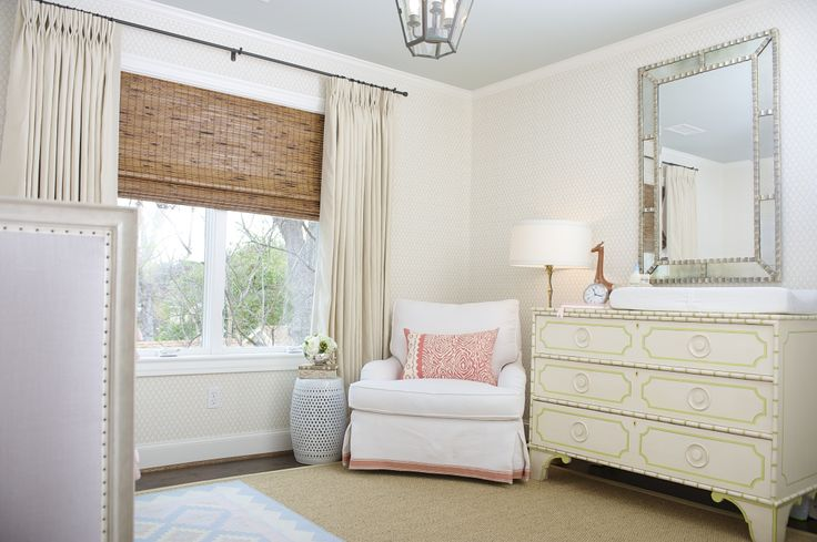 Like this look for window treatments in my living room.   Nursery | Amy Berry