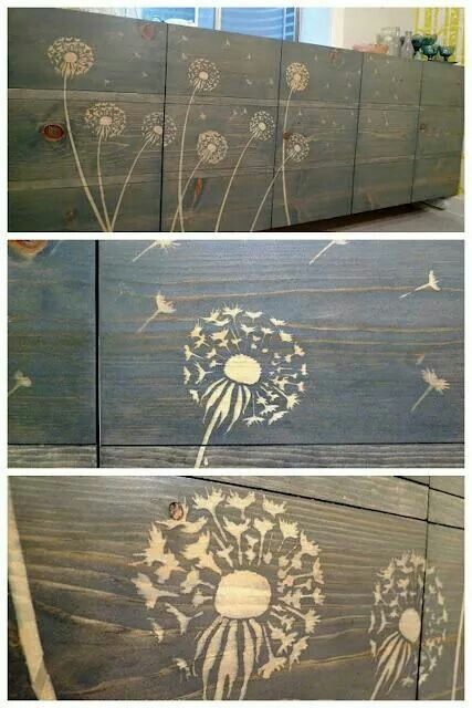 Use a stencils(or draw)and wood glue. Then stain.  Rinse with hose. Beautiful!!