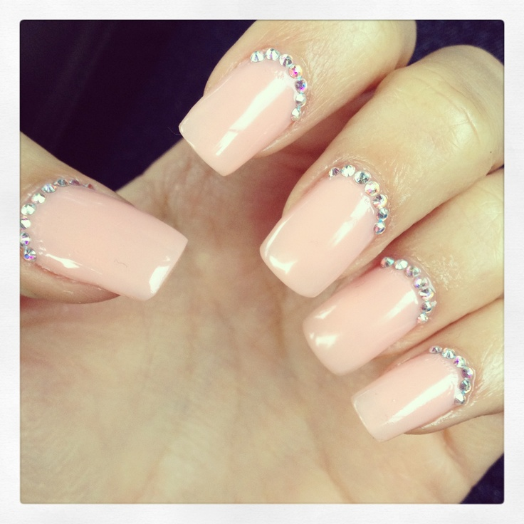 Nude #nails with #rhinestones! Love them!!! :)