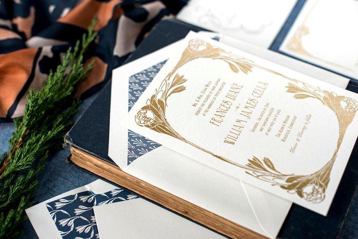 Gold Foil Wedding Invitation, Art Nouveau Wedding Invitation, Letterpress Wedding Invitation, Invitation Suite, Flower, Art Deco, Blue by hellotenfold on Etsy https://www.etsy.com/listing/220836707/gold-foil-wedding-invitation-art-nouveau