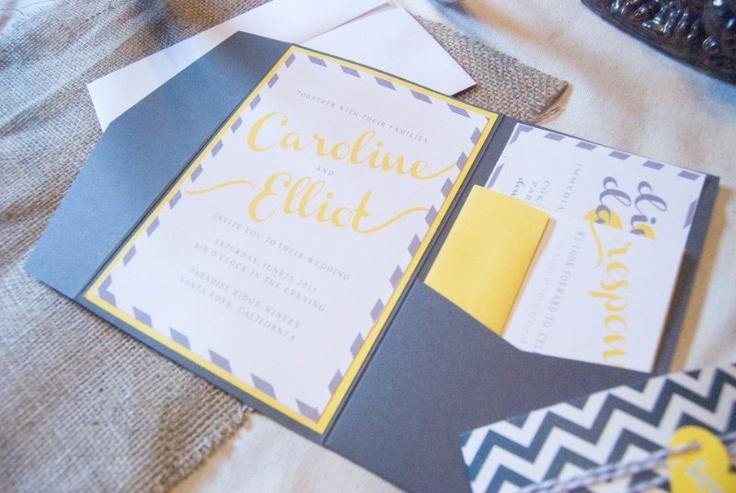 rustic wedding invitation, chevron wedding invitation, wedding stationery, yellow wedding invitation. $3.00, via Etsy.