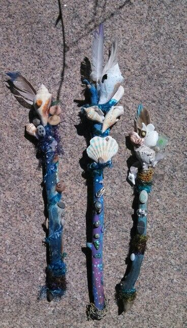 mermaid wand... made during beach vacation using driftwood ocean tumbled stones and sea glass, feathers & shells