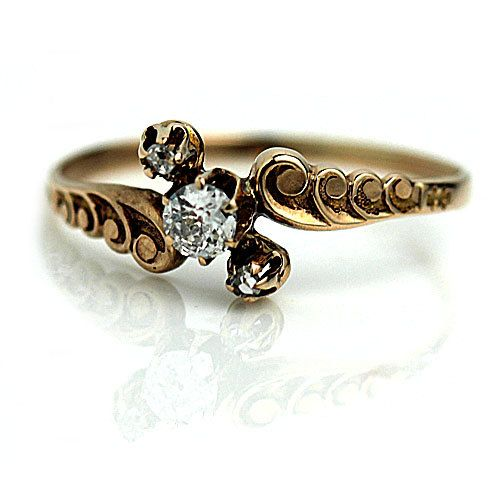 Antique Victorian Engagement Ring Victorian .15ctw Old Mine Cut Diamond Ring 18K Rose Gold Wedding Ring Vintage Promise Ring Size 7.25!