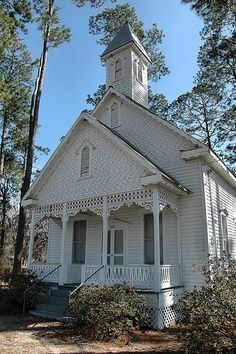 Ruskin GA Ware County Ghost Town Old Church Vernacular Folk Victorian Shingle Siding Pine Trees Pictures Photo Copyright Brian Brown
