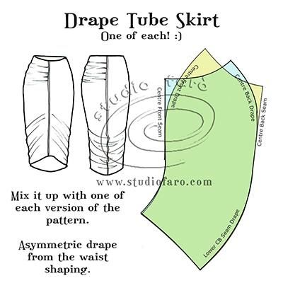 This Drape Tube Skirt pattern is the best fun!  :) #PatternPuzzle - Drape Tube Skirt
