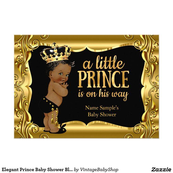 Elegant Prince Baby Shower Black Gold Ethnic Card