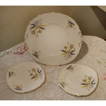 Colclough Stardust Sandwich or Cake Plate and Two Tea Plates £7.50
