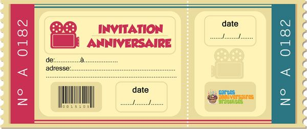 invitation anniversaire ticket cinema imprimer f te pinterest cin ma billet et invitations. Black Bedroom Furniture Sets. Home Design Ideas