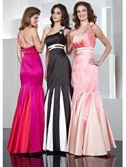 Satin One-shoulder Delicately Gathered Bodice Long Prom Dress