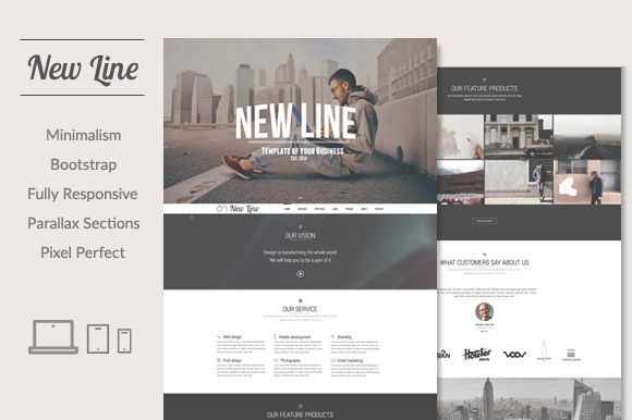 New Line | Minimalism HTML template by ThemesJuice on Creative Market