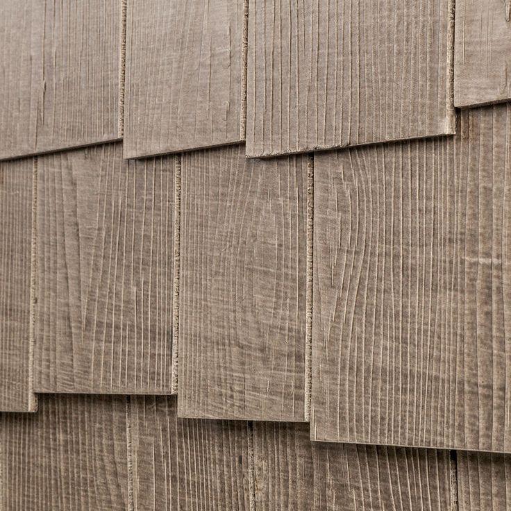 "Fiber Cement Siding - Rustic Select Shingle Panels - Charcoal / Cedar Staggered Edge 1/4""x16""x4'"