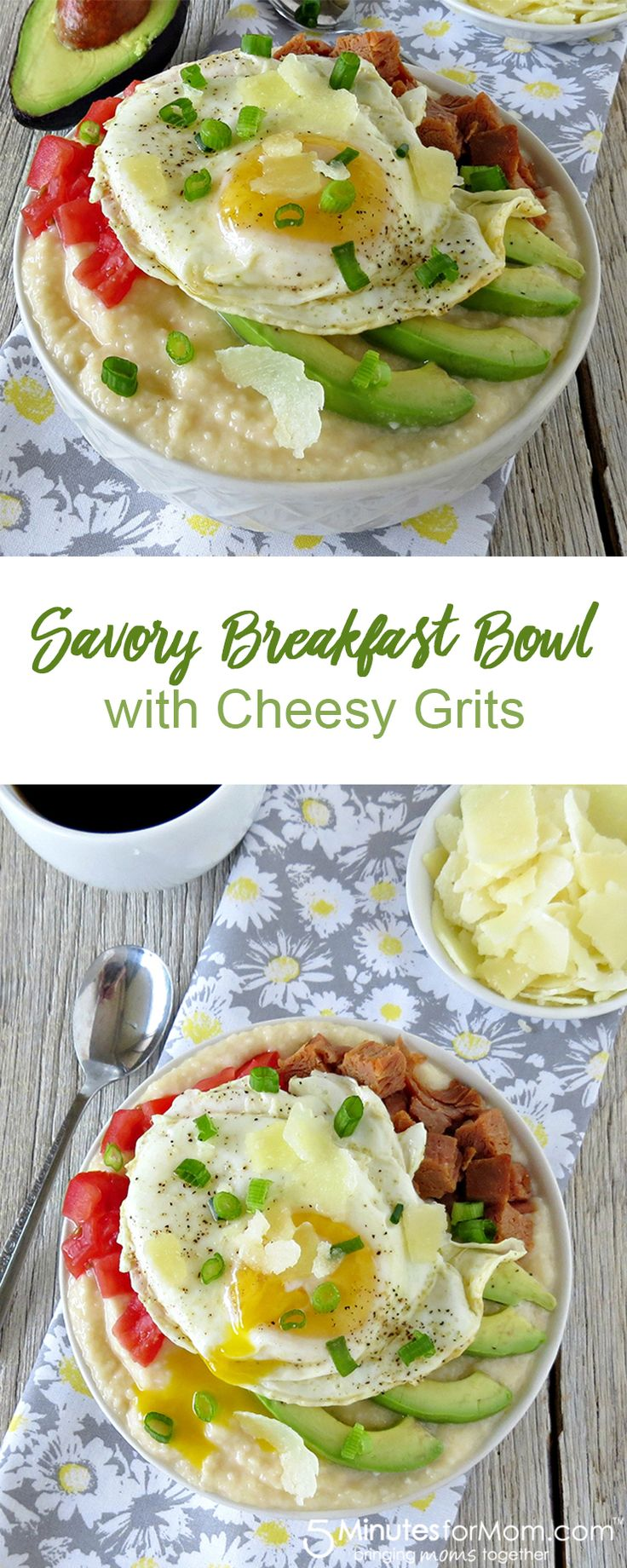 Savory Breakfast Bowl With Cheesy Grits Great Way To Start The Day!