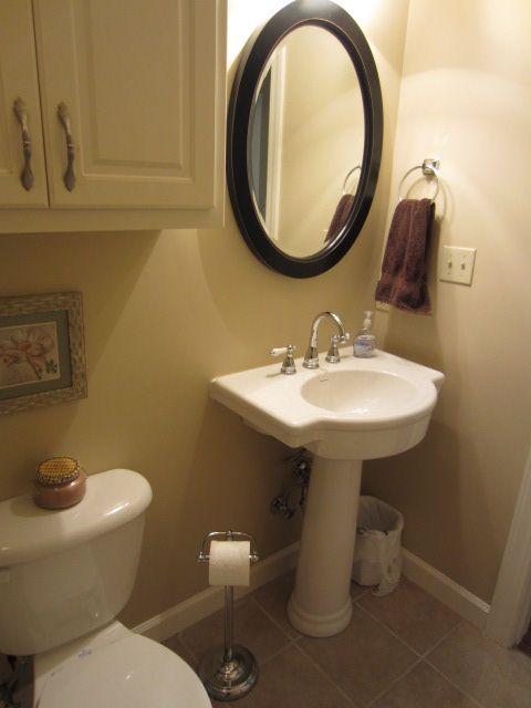 Oval Mirror Over Pedestal Sink Bathroom Ideas Pinterest Oval Mirror Pedestal And Small