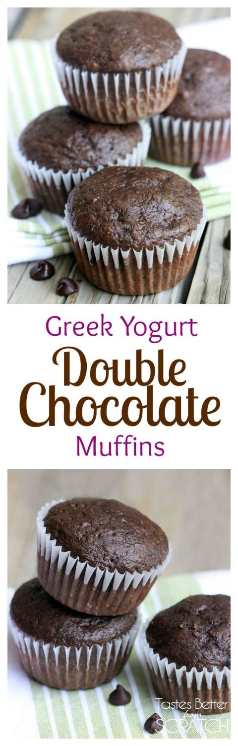 Greek Yogurt Double Chocolate Muffins on TastesBetterFromScratch.com