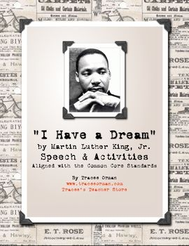 "Free download - This is a great activity to share with your students in celebration of Dr. King's life and dream (use in August on anniversary of his ""I Have a Dream"" speech, or in January to celebrate his birthday). Activities are aligned with the Common Core Standards."