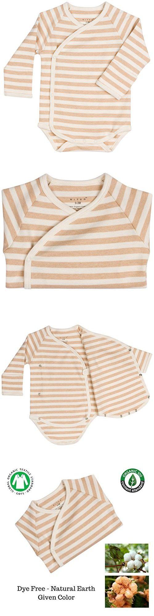 Niteo Baby Organic Cotton Kimono Onesie Bodysuit Long Sleeve with Side Snaps, Light Brown Stripes, 0-3M