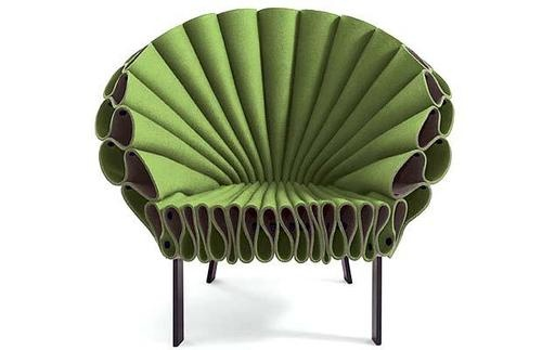 Dror Benshetrit,Peacock chair, 2009.(formed from a single sheet of wool felt).  http://www.telegraph.co.uk/property/propertypicturegalleries/5324116/Milan-Furniture-Fair-2009-American-beauties.html