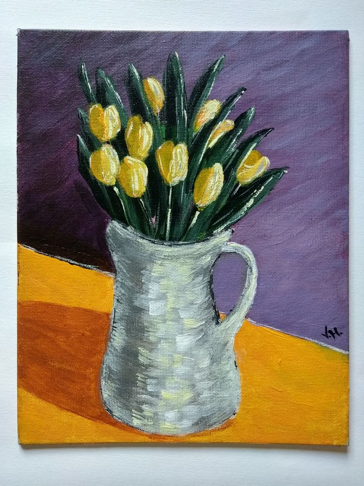 Acrylic painting, Handmade, Gift, Wall Hanging, Wall Art, Home Decor, Flowers, Size: Height 10 Inches X Width 7.9 Inches