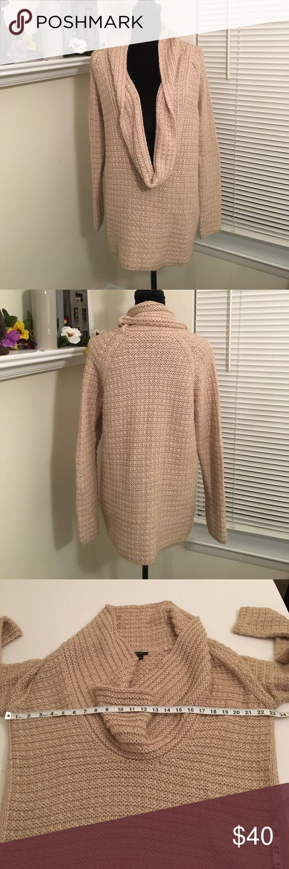 Ann Taylor cowl neck sweater Tan thick stitch deep cowl neck sweater from Ann Taylor. Long sleeves and longer length- perfect for leggings or skinny jeans. Sweater does contain mohair. Ann Taylor Sweaters Cowl & Turtlenecks
