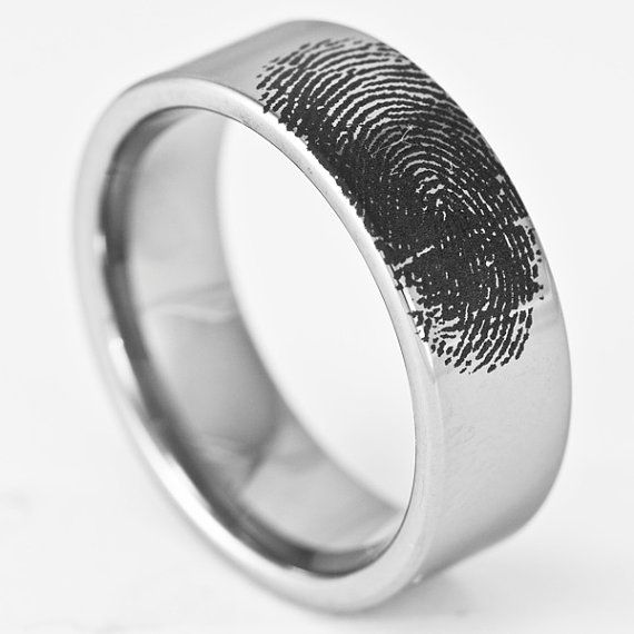 Custom Engraved Fingerprint Wedding Band Mens by RogueRiverJewelry, $99.99 would love this with my boys' fingerprints