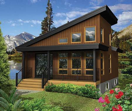 plan 80813pm modern escape with dramatic roofline entry