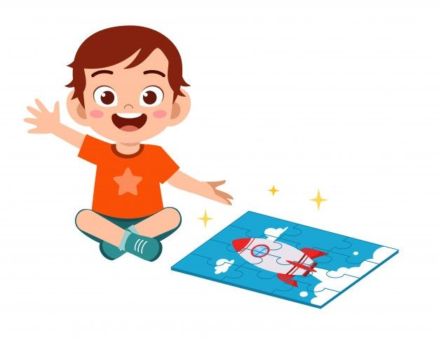 Happy Cute Little Kid Boy And Girl Play Jigsaw Puzzle Premium Vector Cartoon Kids Cute Kids Math Games For Kids