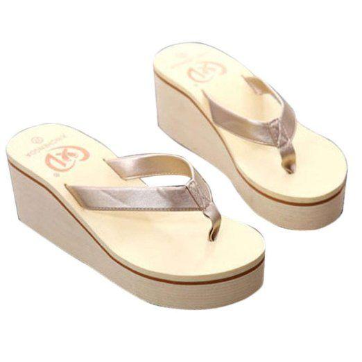 Fortan Vibrazione di estate sexy delle donne di cadute sandali della Boemia della focaccina pendio con i sandali (Oro, EU=37)