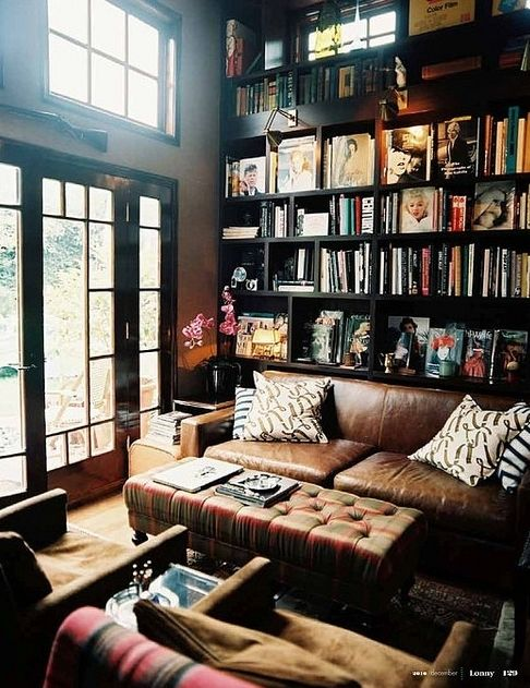 cozy: Bookshelves, Living Rooms, Idea, Leather Couch, Home Libraries, Dreams, House, Bookca, Reading Rooms