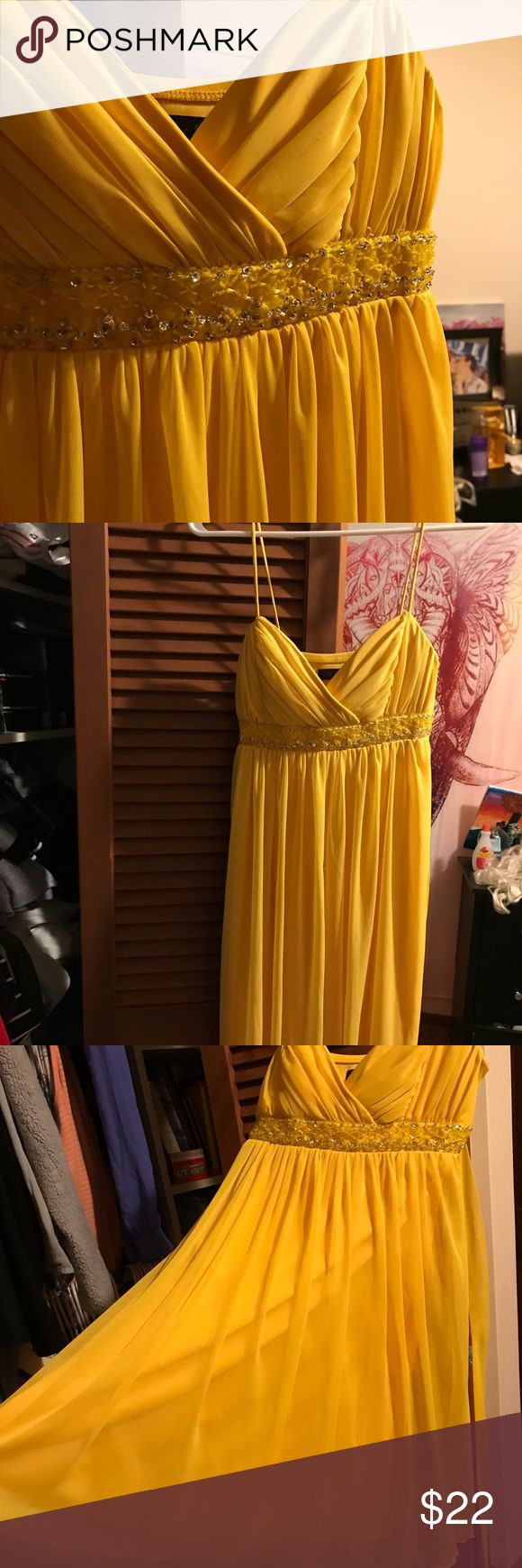 Gorgeous Yellow Sequence Dress Never worn, looks beautiful for any event you may have. The sequencing on the top is gorgeous and that's how you'll look when you have this dress on! Gorgeous! Dresses Wedding