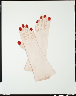 Schiaparelli red painted finger nail gloves