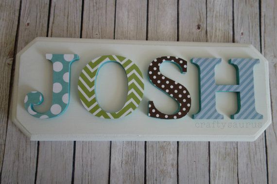 Boys nursery name plaque personalised lettered 3d Wall plaque