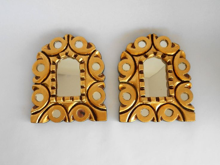 """6.75""""x5.25"""", Square Mirrors, Decorative Mirrors, Small Wall Mirrors, Mirrored Gold Frame Mirrors, Gold Leaf Mirrors,Item GLSM1012 by GoldLeafGirl on Etsy"""