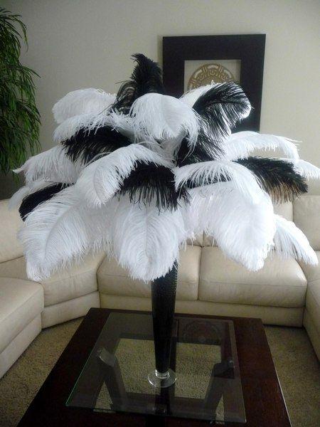 Black & White Ostrich Feather centerpiece