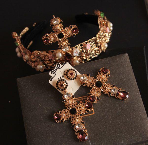 2014 Baroque hair hoop hairpin headdress cross luxury fashion hair bands /set