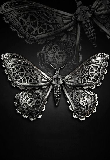 "Barrette Gothique Steampunk Restyle ""Mechanical Moth Silver"""